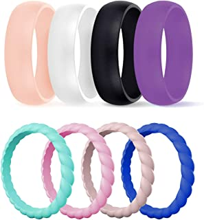 Silicone Wedding Ring for Women, Durable Rubber Bands for Beach Workout Travel Sports Females- Add These Ring to Your Fashionable Matching Clothes, Two Best Unique Design in One Pack