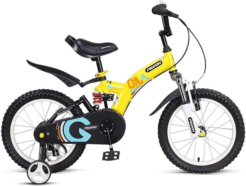 Yuany Kinderfahrrad Vordere und hintere Dmpfung, 14 16 Zoll Jungen und Mdchen 3-8 Jahre alt, um Kinderwagen zu vermeiden (Farbe  Gelb, Gre  16 Zoll)