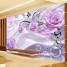 Custom Photo Wallpaper 3D Floral Purple Rose Background Romantic Living Room Dormitorio Diseño De Pared Mural 280X200Cm
