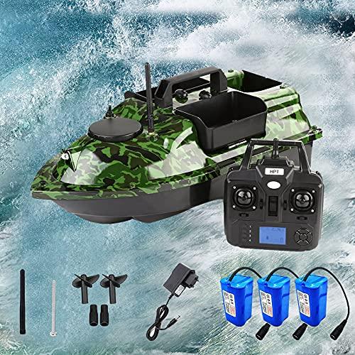 HDMENG Barca Ad Esca da Pesca Rc, Barca Telecomandata Pesca con GPS Crociera e 3 Tramogge per Esche, Barchino Carpfishing Professionale per Appassionati di Pesca e Pescatori, Carico di 2 kg