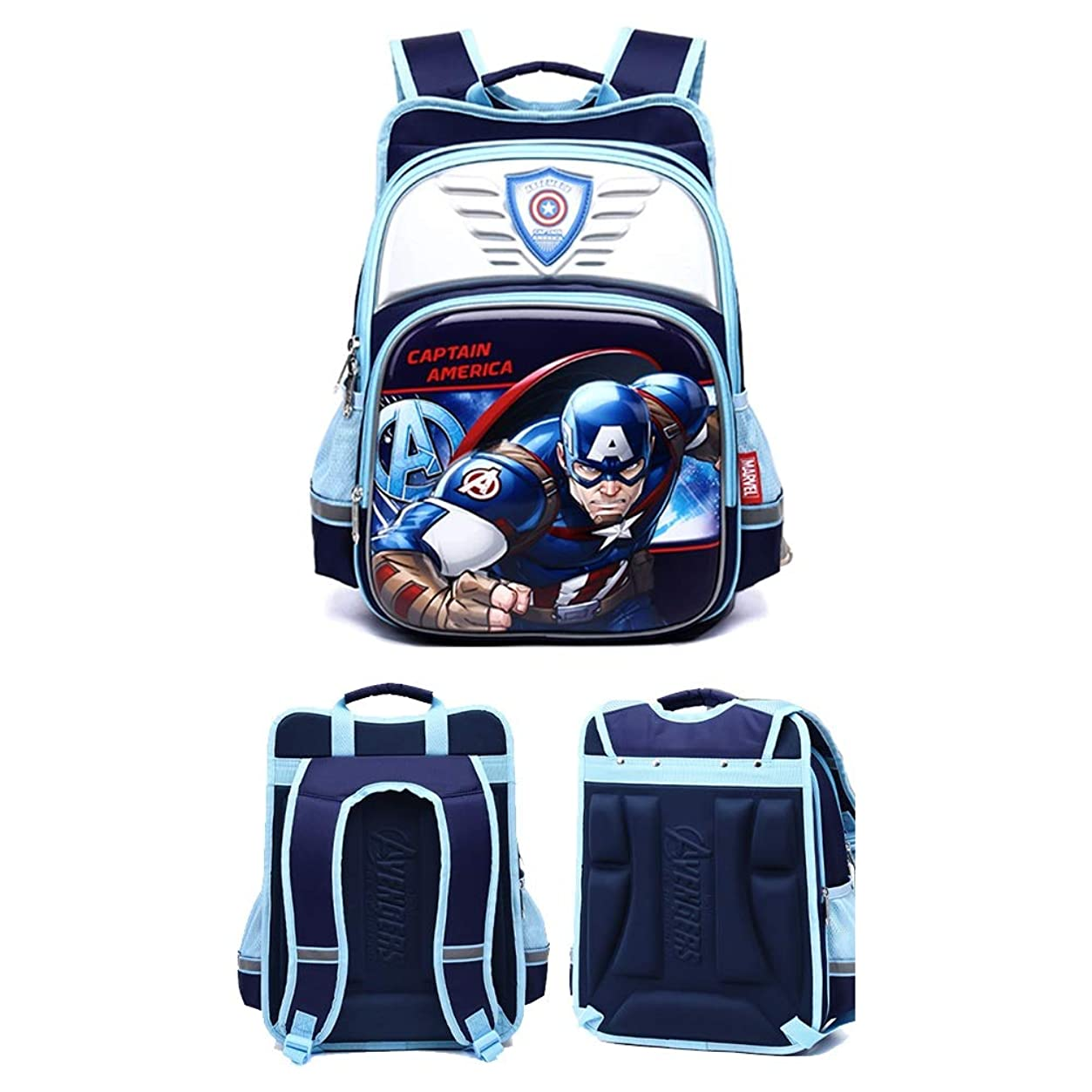 無人速度充電ランドセル小学校男1 3年生3アニメアイアンマンガーディアンリッジリダクション男の子アニメスパイダーマン子供バックパック (Color : Blue 2, Size : Upgrade)