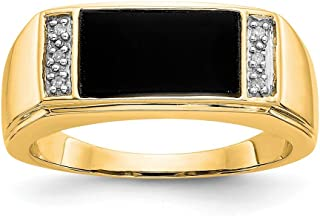 14k Yellow Gold Black Onyx A Diamond Mens Band Ring Size 10.00 Man Fine Jewelry Gift For Dad Mens For Him
