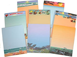 Beach Note Pad Pack - 8 Assorted Beach & Ocean Theme Pads - Great Gift