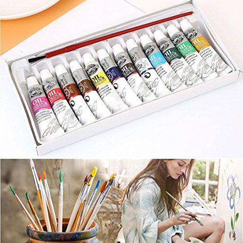 Kicode Accesorios de dibujo Conjunto de pintura al óleo Pincel Pigmento Pintura del artista 12 colores Para estudiantes artistas y principiantes