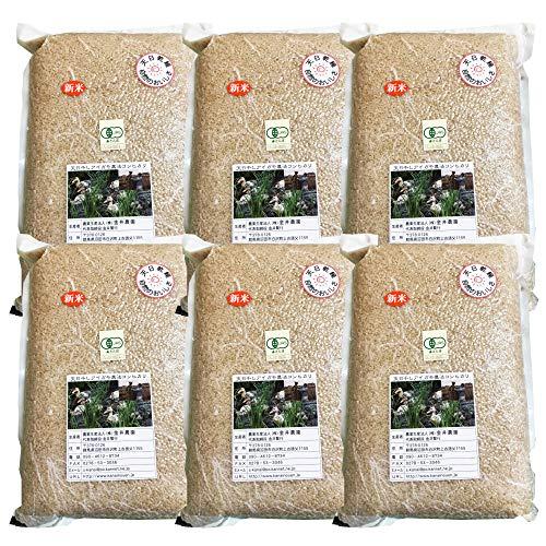 群馬県 金井農園の無農薬有機玄米 - 金井さんの天日干し合鴨農法玄米30kg(5kg×6袋) 有機玄米コシヒカリ 昔ながらのはさかけ天日干し・籾(もみ)貯蔵