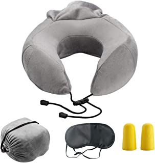 Bloodyrippa Ergonomic Travel Pillow, Memory Foam Neck Support, Adjustable Tightness, Ideal for Flights, Driving, Also Come with Sleep Mask and Earplugs