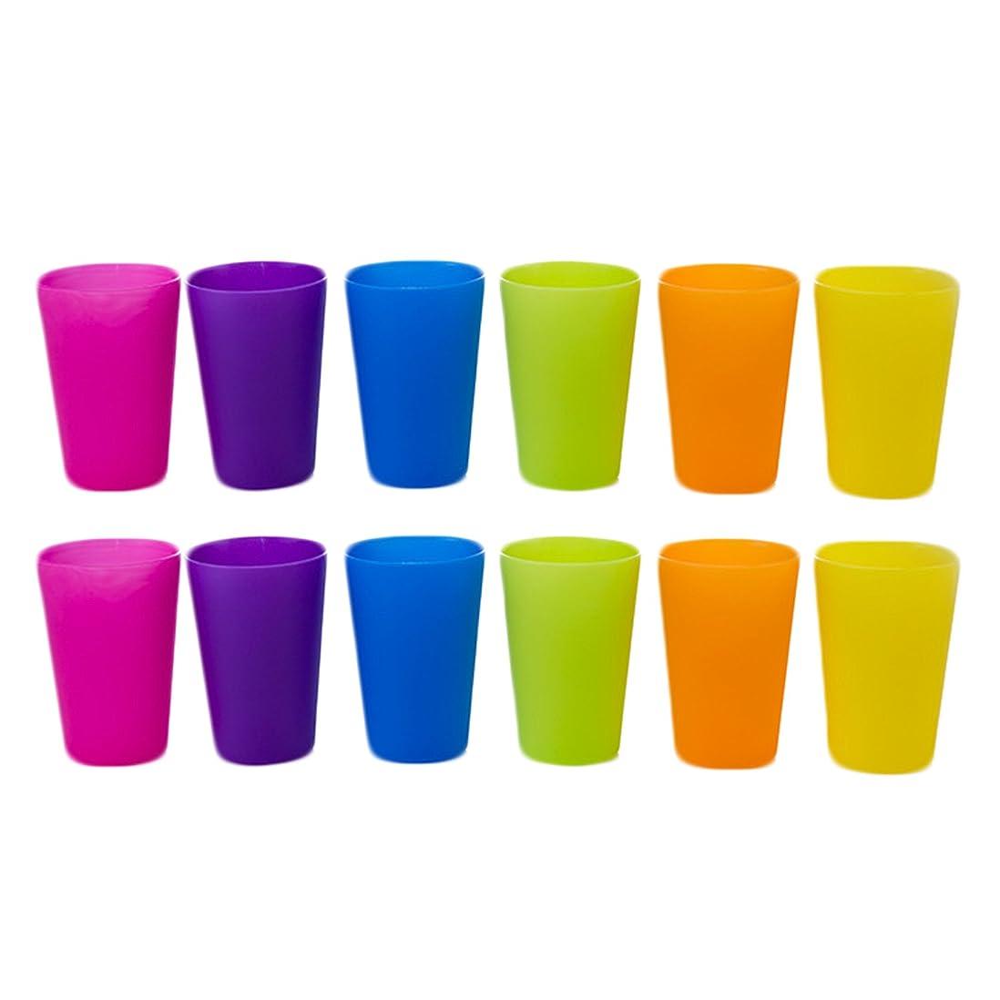 として眉をひそめるなぜならゴシレ Gosear 12個再利用可能なアンブレイカブルプラスチックコップ水ビールカップホームピクニックパーティープールビーチ260ml