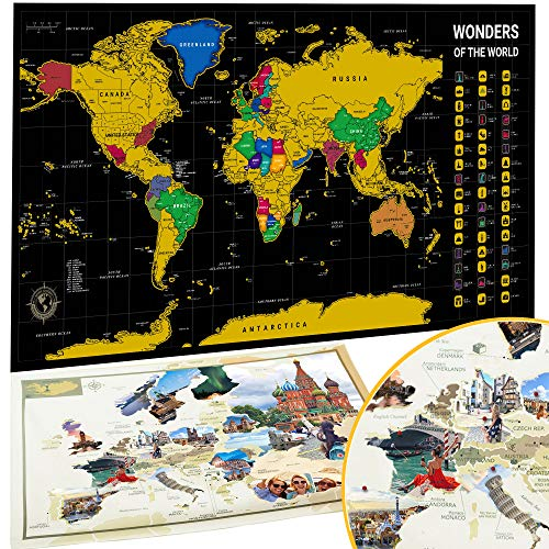 Wanderlust Mapa Mundi Rascar y Mapa Tapiz Europa, Color Negro y Dorado, Mapa Mural para Rascar del Mundo, Mapa del Mundo Raspado en Oro Negro, 84 x 43 Centímetros