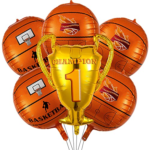 Set de 6 Globos de Baloncesto de Fiesta Incluye 1 Globo de Trofeo de Campeonato y 5 Globos de Aluminio de Baloncesto Globos de Baloncesto de Juguetes de 22 Pulgadas para Cumpleaños Deportes