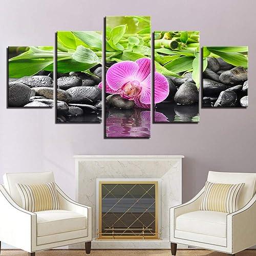 bienvenido a orden YHEGV Impresiones En Lienzo Lienzo Fotos Modular Salón Salón Salón Decoración Marco 5 Unidades Piedras Bambú Orquídeas Flores Pinturas Arte de la Parojo HD Impresiones Posters  apresurado a ver