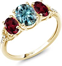 10K Yellow Gold 3-Stone Engagement Ring Oval Blue Created Moissanite by Charles & Colvard and Rhodolite Garnet Red 0.90ct (DEW)