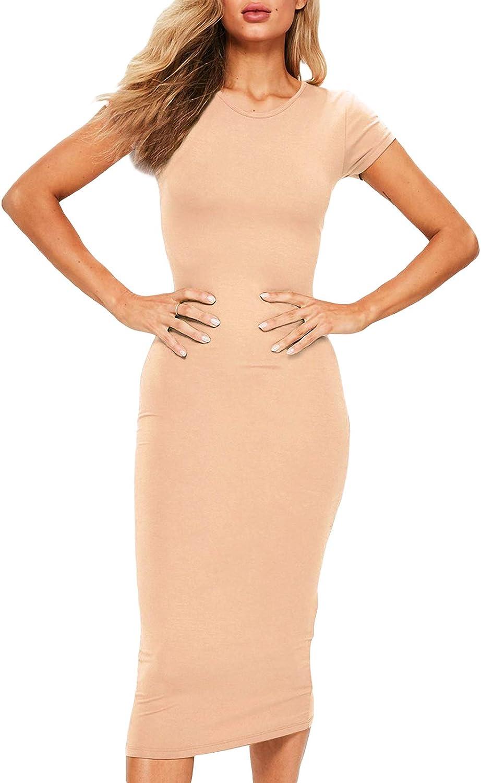 Avedini Women's Summer Sleeveless Tank Dress Crewneck Bodycon Ruched Tie Waist Mini Casual Dresses
