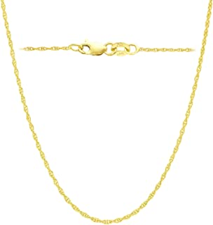 14K Yellow or White Solid Gold Italian Diamond Cut 1 mm Rope Chain Necklace Thin & Strong 14k gold chain - Lobster Claw Clasp With FREE GIFT with each order