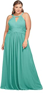 Keyhole Bridesmaid Dress Long Formal Evening Prom Gown for Wedding Maxi