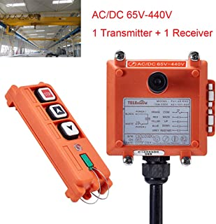 Industrial Crane Wireless Remote Control F21-2S AC/DC65V-440V (1 Transmitter + 1 Receiver) Hoist with Single speed button