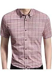 XINHE Mens Button Down Small Plaid Leisure Cotton Long-Sleeve Shirt