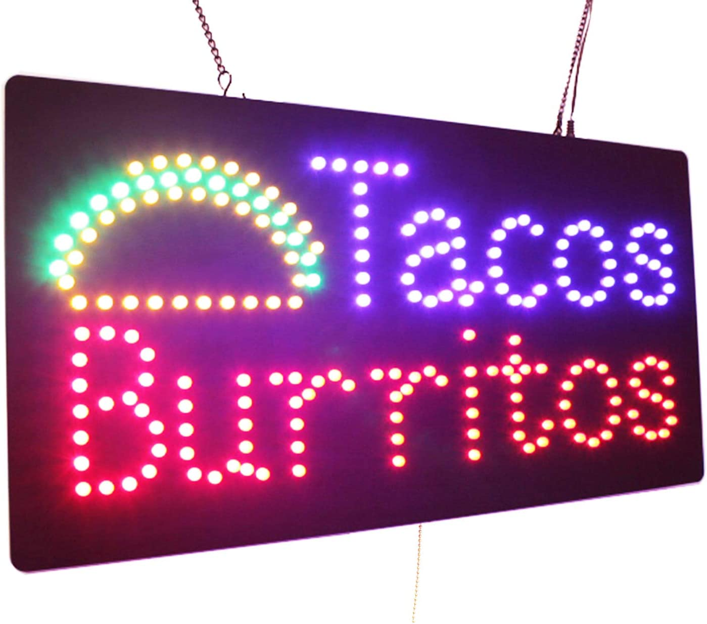 Tacos Burritos Sign, TOPKING Signage, LED Neon Open, Store, Window, Shop, Business, Display, Grand Opening Gift