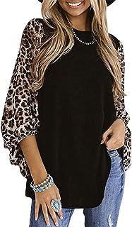 OrientalPort Maglietta a maniche lunghe da donna, leopardato, patchwork, camicetta sfusa, a tunica