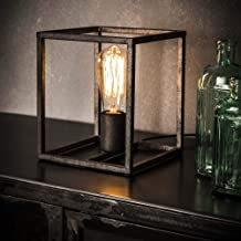 Famlights tafellamp Saskia van metaal in zilver vierkant, 1 lamp, E27, industrieel design, edele tafellamp voor woonkamer ...