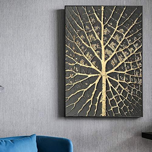 KWzEQ Pintura al óleo Abstracta de Punto Dorado en el pó