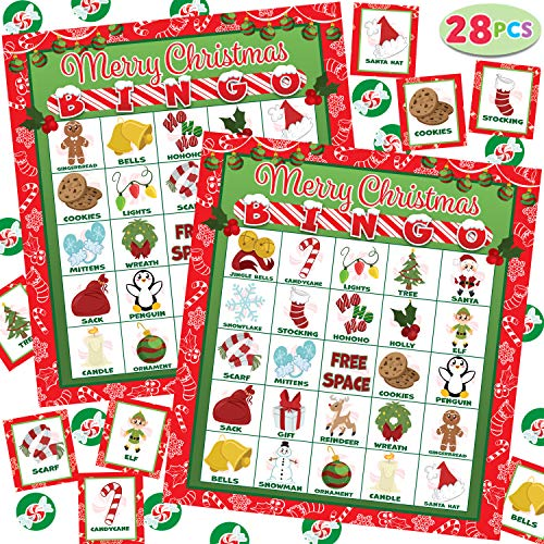 28 Players Christmas Bingo Cards (5x5) for Kids Family Activities, Party Card Games, School Classroom Games, Turkey Party Favors Supplies.