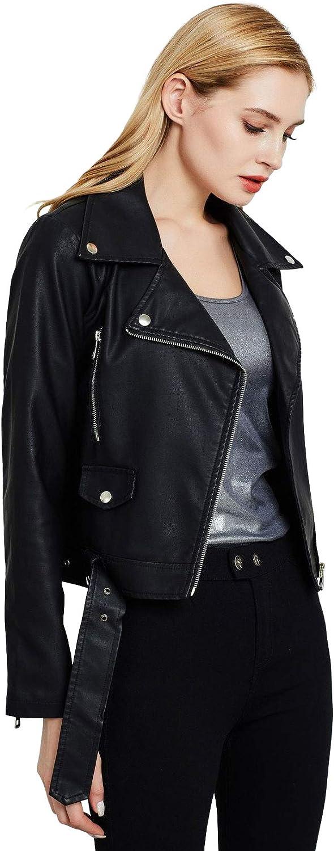 ebossy Women's Classic Diagonal Zipper Belted Faux Leather Moto Biker Cropped Jacket
