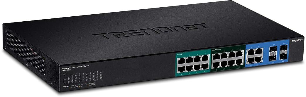 遺体安置所シート促進するTrendnet TPE-204US network switch Managed Gigabit Ethernet (10/100/1000) Black 1U Power over Ethernet (PoE)