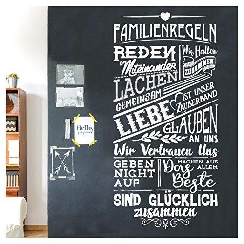 Grandora Wandtattoo Spruch Familienregeln I dunkelgrau (BxH) 58 x 120 cm I Regel Familie Wohnzimmer Flur Sticker Aufkleber Wandaufkleber Wandsticker W5498