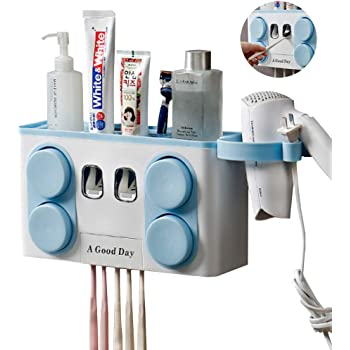 Wall Mounted Toothpaste Toothbrush Holder Cups Storage Saver Organizer Bathroom