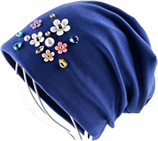 Spring And Autumn Solid Color Cap Ladies Rhinestone Pearl Flower Cap