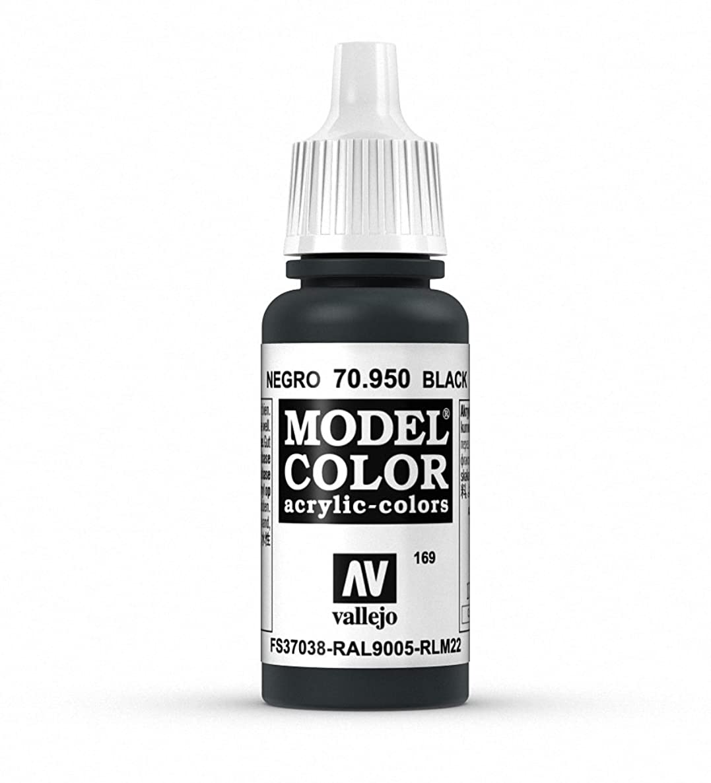 Vallejo Black Model Color Paint, 17ml