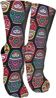 靴下 抗菌防臭 ソックス ロシアネスティング人形スポーツスポーツソックス、旅行&フライトソックス、塗装アートファニーソックス30 cmロング靴下