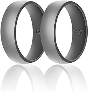 SANXIULY Mens Silicone Wedding Ring&Durable Rubber Wedding Bands Safe and Weight Lifting for Workout and Active Athletes Width 8mm