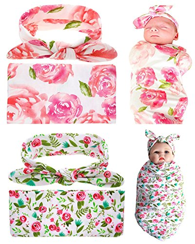 QandSweet Newborn Swaddle Blanket and Headband Unisex Baby Printing-Flower Wrap 2 Sets (Pink and Green)