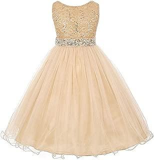 EMERCLY Sleeveless Sparkling Rhinestone Waistline Tea Length Girls Dress