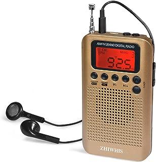 ZHIWHIS 小型ラジオ FM/AM ワイドfm対応 ポータブル 高感度 デジタル ポケット防災携帯 クロックラジオ USB供電式電池式 タイマー機能 チャンネル記録 スピーカーとイヤホン付き(金)