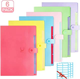 Farielyn-X 6 Pack Solid Color Expanding File Folder, Accordian File Organizer, Letter A4 Paper Plastic Document Folders with 5 Pockets Snap Closure and 42 Labels Stickers for School Office Home