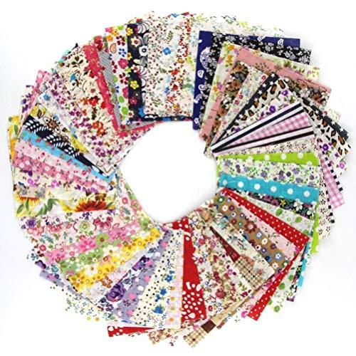 VORCOOL Cuadrados de Tela de algodón Que acolchan Hojas de Tela precortada Floral de Costura para Patchwork