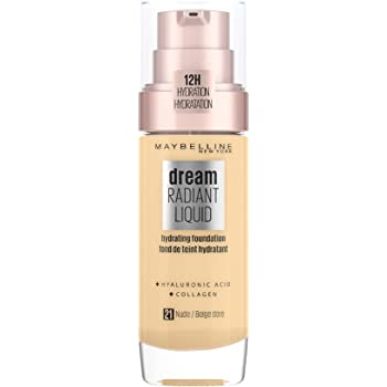 Maybelline Foundation, Dream Radiant Liquid Hydrating Foundation with Hyaluronic Acid and Collagen - Lightweight, Medium Coverage Up to 12 Hour Hydration - 21 Nude