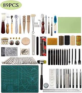 JFZS 89PCS Kit De Gravure sur Cuir Outils Et Fournitures en Cuir Fournitures De Kits De Travail en Cuir pour Couture Poinç...