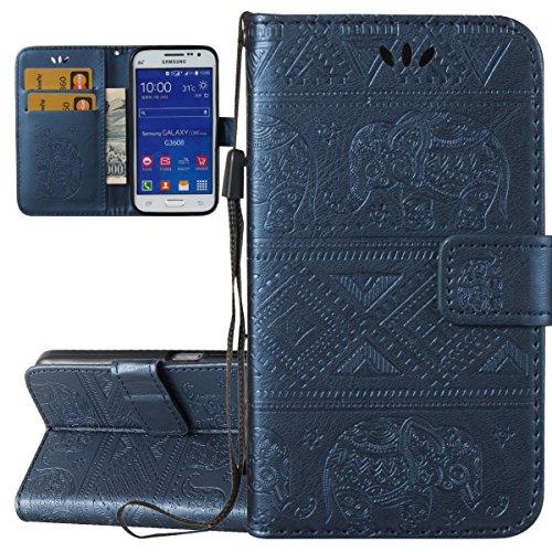 ISAKEN Cover Galaxy Core Prime, Flip Custodia per Samsung Galaxy Core Prime G360, Embossed PU Pelle Case Flip Portafoglio Cover Waller Caso con Supporto di Stand/Carte Slot - Elefante: Blu Scuro