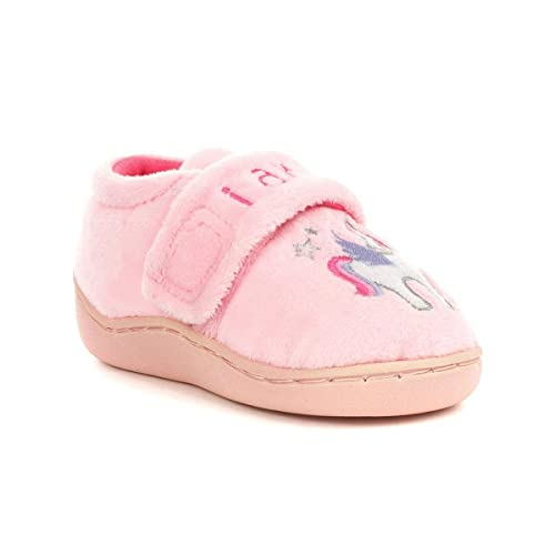 0eb89a427debe The Slipper Company - Girls Pink Embroidered Unicorn Slipper