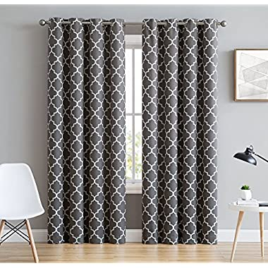 HLC.ME Lattice Print Thermal Insulated Blackout Window Curtain Panels, Pair, Chrome Grommet Top, Grey