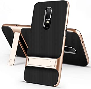 stilluxy One Plus 6 Case Compatible with Oneplus 6 Cover Kickstand Luxury 1plus Oneplus6 with Stand Matt Cell Phone Cases Protective Skin Coque (Gold)