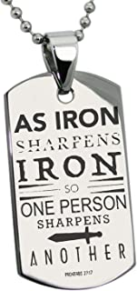 Tioneer Stainless Steel As Iron Sharpens Iron Proverbs 27:17 Dog Tag