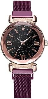 Becoler Fashion Starry Sky Mosaic Diamond Quartz Mesh Belt Magnetic Buckle Ladies Watches