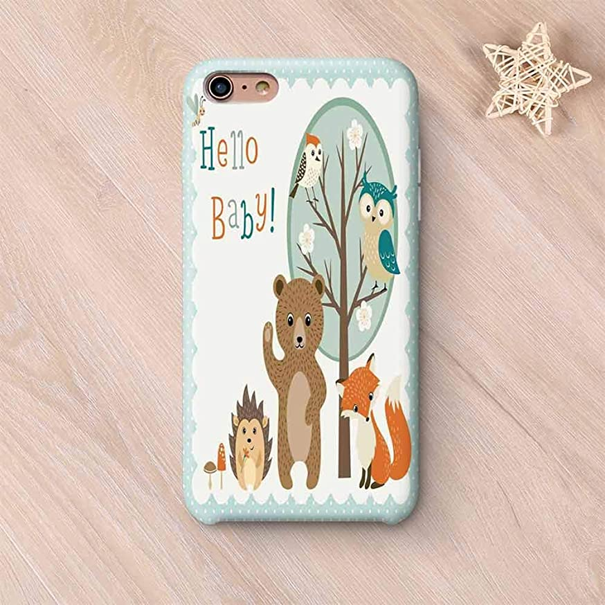 Kids Frosted & Smooth Surface Compatible with iPhone Case,Hello Baby Arrival Funny Hedgehog Bee Owls Birds on Tree Bear Fox Animals Themed Party Home Decor Compatible with iPhone 7/8 Plus,iPhone 6 pl
