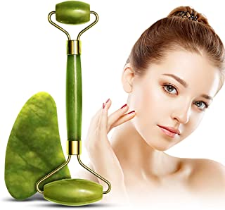 Jade Roller and Gua Sha Massage Tool for Face Neck Body , Natural Jade Stone Set for Slimming and Firming Skin ,Facial Roller for Rejuvenate Skin and Reduce Wrinkles Aging