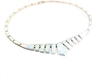 Collar Artesanal de Plata 925 con Ópalo Blanco, Hecho en el Pueblo de Taxco, México. Largo: 45cm. Peso: 19.10g.