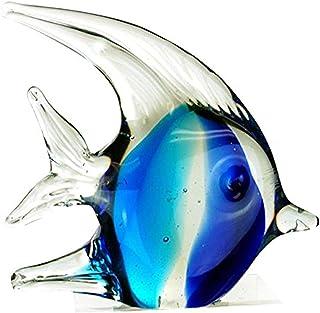 "StealStreet ZBD-571 Ss-Ug-Zbd-571, 4.5"" Bubble Angel Fish Glass Blown Decor Figurine, Teal & Blue"